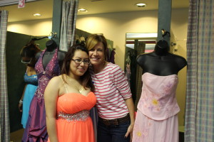 Alba Garcia from Miguel Contreras Learning Complex looks pretty as a picture in her donated prom dress. She is pictured with Assistance League of Los Angeles volunteer Megan Derry. Photo Sheila Lane.