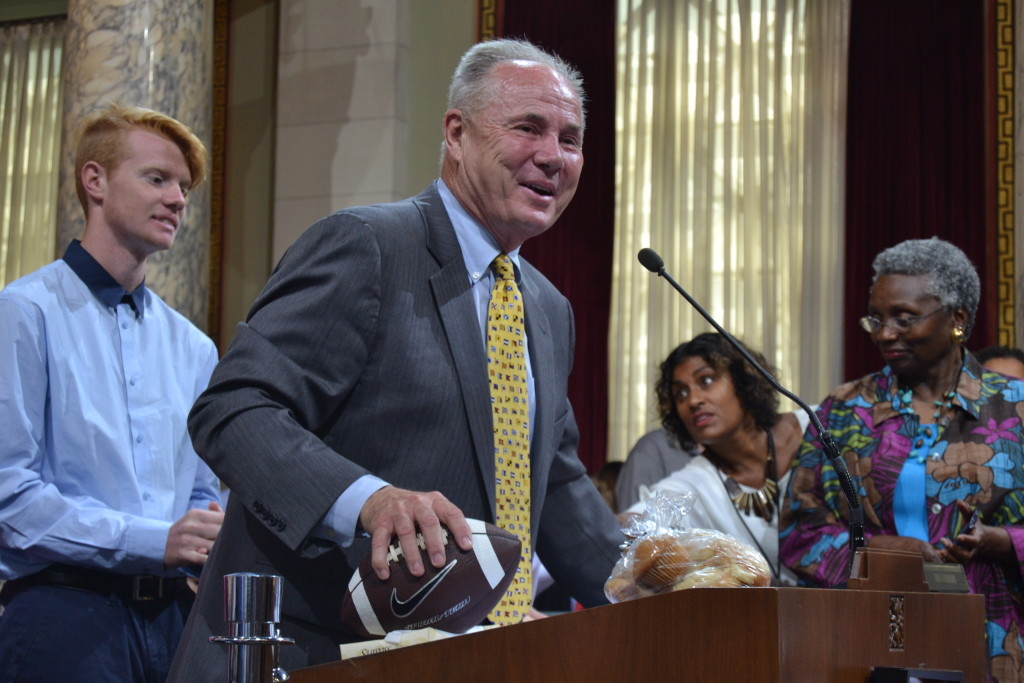Outgoing Los Angeles City Councilmember Tom LaBonge during a council chambers farewell gathering in his honor in June. Photo: Bridgette Webb.