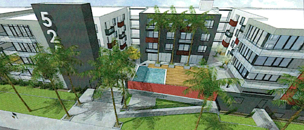 a rendering of an apartment complex proposed for the 500 north block of wilton place