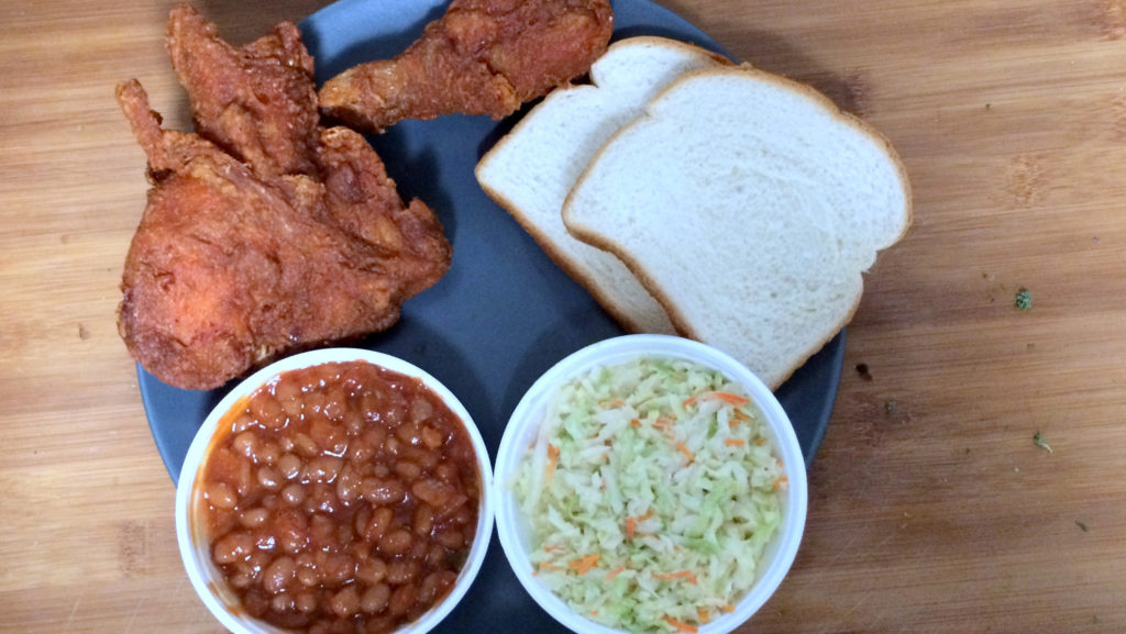 Fried chicken and sides at Gus's World Famous Fried Chicken