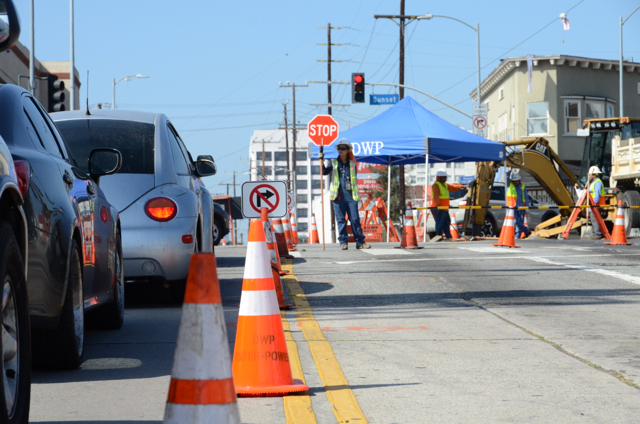 Repair and replacement of old water pipes by the Los Angeles Dept. of Water and Power can cause traffic slowdowns.