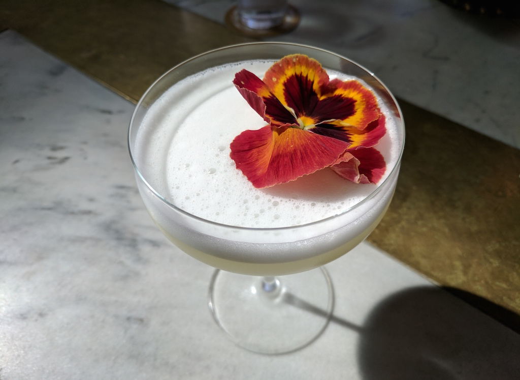 A Lavender Sour from Manuela, located inside Hauser & Wirth gallery.
