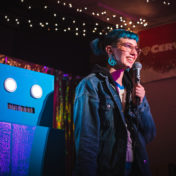 A homemade robot is the host of HUMANS!, a monthly standup comedy show produced by 26-year-old comedian Mikey Heller.